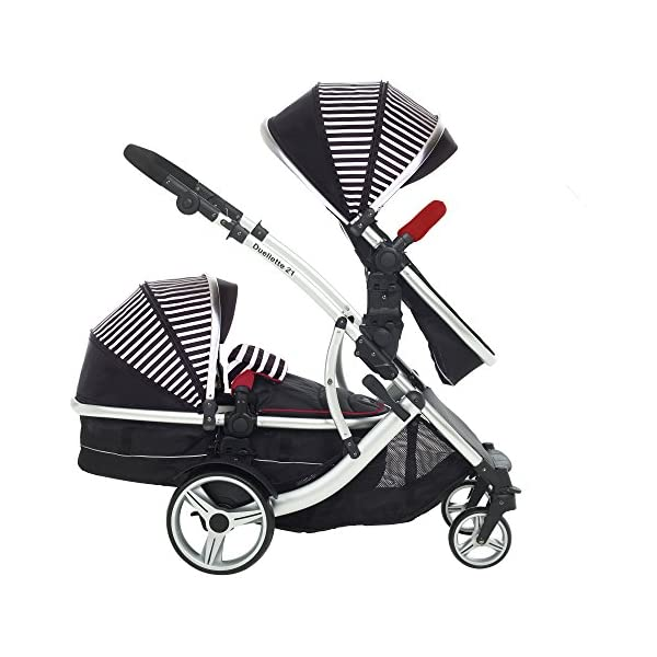 Kids Kargo Duellette Combi Tandem Double Twin pushchair (Oxford Stripe) for Newborn Twins Kids Kargo Fully safety tested Compatible with car seats; Kids Kargo, Britax Baby safe or Maxi Cosi adaptors. Versatile. Suitable for Newborn Twins:  carrycots have mattress and soft lining, which zip off. Remove lining and lid. 5