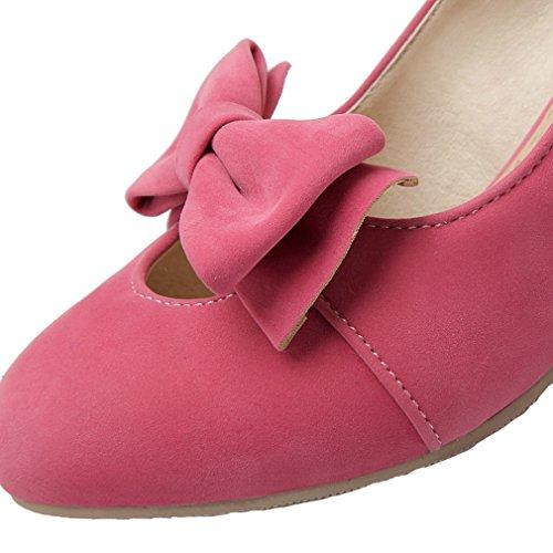 ENMAYER elegante da donna, in pelle, tacco medio, pompe Slipsole scarpe con papillon Rosa (rosa)