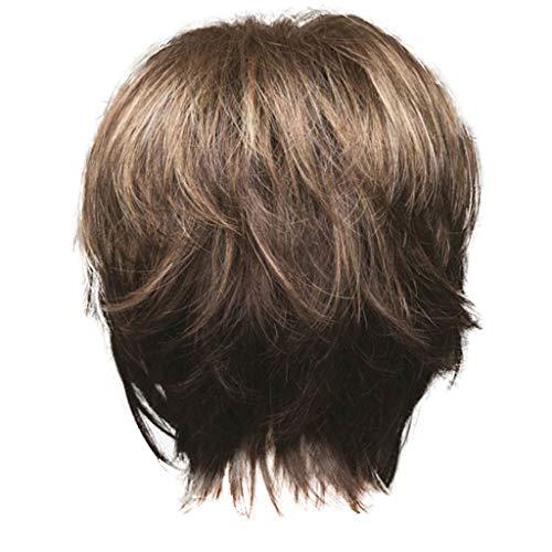 Bumen Neu Perücke Haar Wigs Weiblich Braun leicht Gewellt Kurz für Karneval Cosplay Halloween Stilvolle Damenperücke, mit Braun, kurze, hitzebeständig, leicht gewelltem Haar von