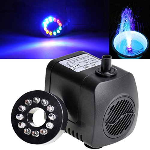 800L/H 210 GPH Submersible Water Pump Per Aquarium Fish Tank Pond Fountain con 12 LED Lights