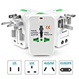 Obbi- International All in One Universal World Wide Travel Plug Adapter with Surge Protector - Supports more then 150 countries (White)