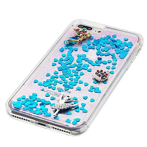"""Flüssiges Case Ultra Thin Dünn TPU Silikon Schutzhülle für iPhone 7 plus 5.5"""" 3D Kreative Liquid Handyhülle Durchsichtig Rückseite Tasche Glitter Shiny Kristall Klar Handytasche Sparkle Dynamisch Trei E01"""