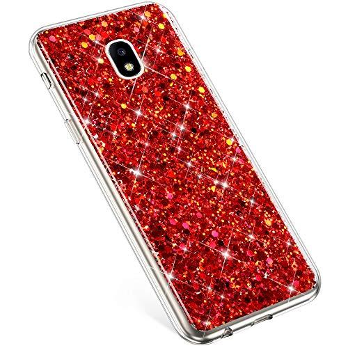 PHEZEN Kompatibel mit Samsung Galaxy J7 2018 Hülle, Galaxy J7 Star Case, J7 Crown J7 Aura Hülle, Mädchen Frauen Bling Glitzer TPU Hülle Gummi Silikon Schutzhülle für Galaxy J7 2018 rot Samsung Cricket