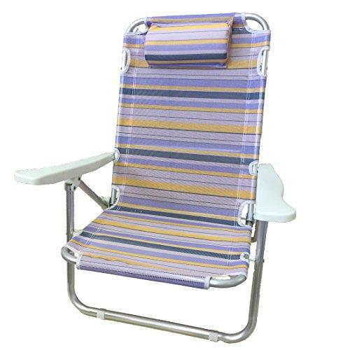 Euronovità en-83626 spiaggina sdraio relax rigata in alluminio, gialla, 70x62x25 cm