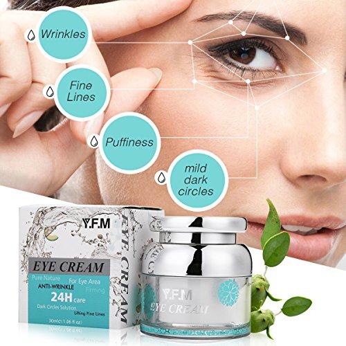 Augencreme, Luckyfine Anti Falten und Aging Creme für Augenringe, Schwellungen & Fältchen Gesicht Feuchtigkeitsspendend 30ml