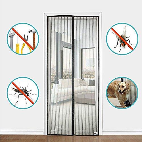 Nclon Magnet fliegengitter tür Klebemontage Full-frame,Fliegenvorhang moskitonetz magnetvorhang Zum insektenschutz Automatisches schließen Punch-frei-schwarz 70x200cm(28x79inch)