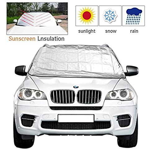 Ploopy Windscreen Snow Cover, Auto Ice Wiper Protector, Non Scratch Magnetic, Sturdy Heavy Duty Material, Keep your Vehicle Exterior Clean and Freeze Free, Double-Sided car styling ( 215*125cm, Black