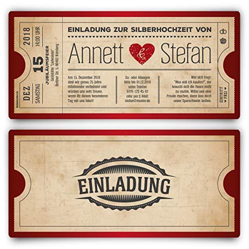 30 x Silberhochzeit Hochzeitseinladungen silberne Hochzeit Einladungskarten individuell - Vintage Herz Rot
