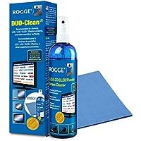 Rogge 10025 kit de limpieza para computadora Líquido y paños secos/húmedos para limpieza de equipos LCD/TFT/Plasma - Kit de limpieza para ordenador (Líquido y paños secos/húmedos para limpieza de equipos, LCD/TFT/Plasma, Microfibra, 400 mm, 380 mm, 250 ml)