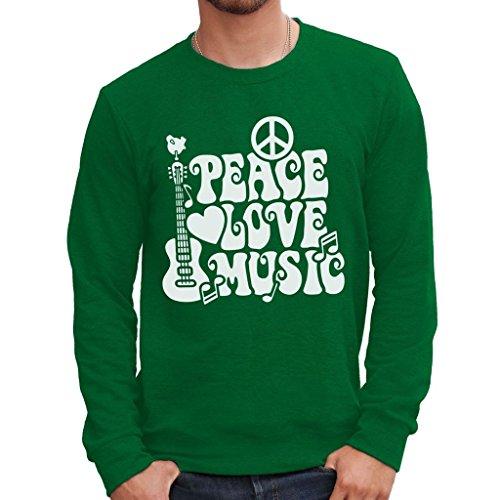 MUSH Sweatshirt Peace Love Music Woodstock - Musik by Dress Your Style - Herren-XL DunkelgrŸn
