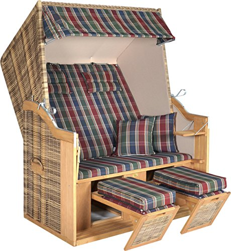 MABAMAHO Hochwertiger Strandkorb 'Nizza' XL 2-Sitzer für Ihren Garten, Halblieger, Fußstützen, Fuß- und Nackenkissen