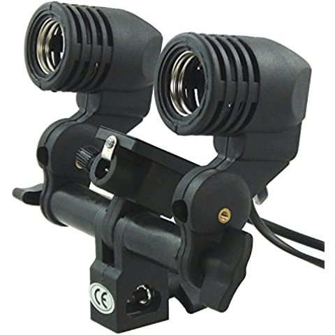 E27 doble profesional de la lámpara sujetador del conector giratorio con Umbrella soporte para Flash, Luz Monolight