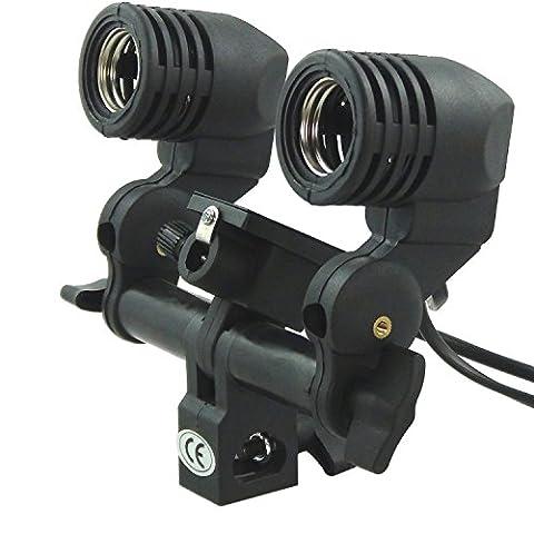 E27 Professional Double Titulaire de la lampe Bulb Socket Support pivotant avec Parapluie pour Flash Light Lighting monolight