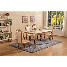 table de salle manger en marbre blanc en mtal or rose ensemble de salle - Salle A Manger En Marbre