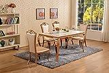 Table-de-salle--manger-en-marbre-blanc-en-mtal-or-rose-Ensemble-table--manger-chaises-en-imitation-S-Leathers-6