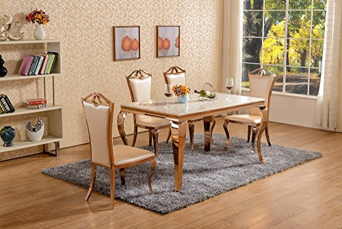 Rose Gold Dining Set Metal White Marble Top Dining Table 4 Chairs
