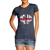 TWISTED ENVY Funny Shirts for Women England Rugby Ball Flag Women