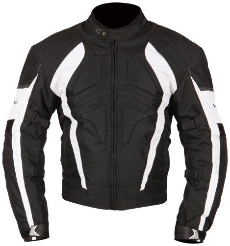Milano giacca moto sport gamma con accento bianco (Black, X-Large) by Milano sport