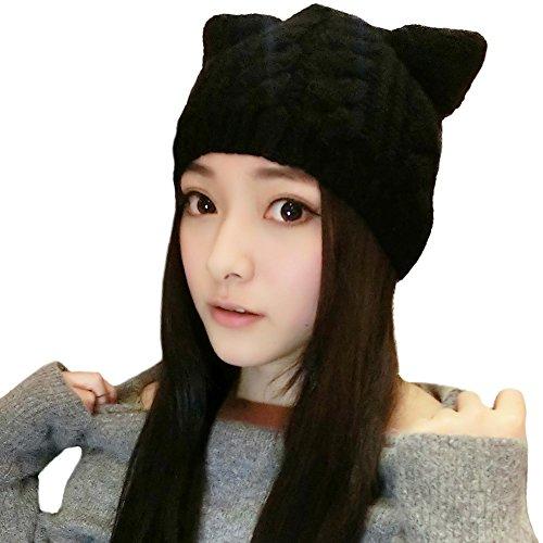 SIGGI schwarze warme gestrickte Beanie Mütze Katze Ohr Mütze Strickmütze Für Mädchen Wintermütze