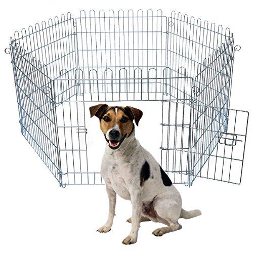 EUGAD Welpenauslauf Welpenzaun Freigehege Welpengitter Laufgitter Laufstall Hunde aus 6 Elementen, 60x63 cm 0196HT