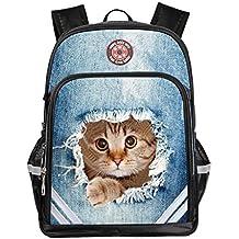 Mochila Mochila Mochilas Unisex 3D Bolsas de impresión -Ideal Boys Girls Moda Versátil mochila un montón de almacenamiento-Animal School Bolsas aptas para la escuela, viajes, al aire libre-DoGeek (gato)