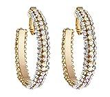 Boucles d'oreilles clips - Créoles - Plaqué or cerceaux avec de l'or et des cristaux clairs - Bera par Bello London