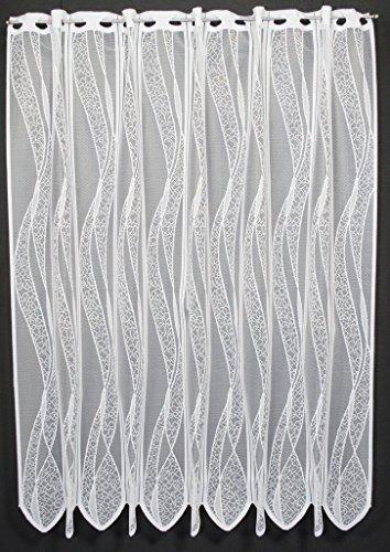 Scheibengardine mit Welle 110 cm hoch   Breite der Gardine durch gekaufte Menge in 11,5 cm Schritten wählbar   Farbe: ganz weiß   Vorhang Küche Wohnzimmer