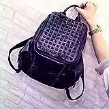 Koreanische Version von Umhängetasche Lady casual Schaffell Ziernähten modische Rucksack leder Niete barrel Bag, schwarz