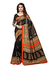 Fabwomen Sarees Floral Print MULTI COLOURED Cotton Silk Fashion Party Wear Women's Saree/Sari With Blouse Piece.