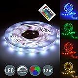 10m LED-Strip I Lichtstreifen mit 16 Farben I Band Farbwechsel per Fernbedienung I dimmbar I selbstklebend