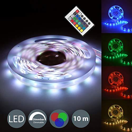 B.K.Licht I 10m LED-Strip I Lichtstreifen mit 16 Farben I Band Farbwechsel per Fernbedienung I dimmbar I selbstklebend