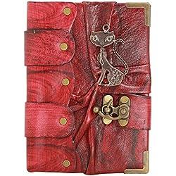 Colgante Feliz Gato en Diario de cuero Rojo / Diario / Bloquear / Rojo Estilo Vintage / Notebook / Papel normal / libro / Mujer / Hombre / Los niños / Trabajo de oficina