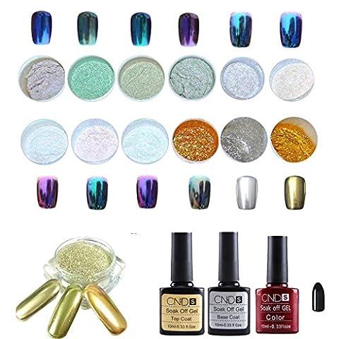 Vovotrade ✿✿1 Set 12 Farben Nail Art Shinning Spiegel Glitzer Powder Chrom Pigment Schwarz UV Gel Top Base Coat
