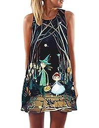 ZARUP-Vestir Vestido de mujer♥♥♥Zarupeng Vestido corto sin mangas con estampado