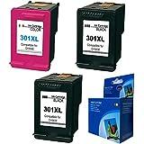 Cartuchos Reemplazo Para HP 301XL HP301 XL Set de Cartuchos de Tinta Remanufacturados (1 Color y 2 Negro)