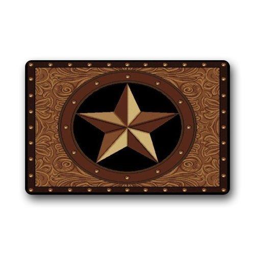 Western Texas Star Non-Slip Rubber Entrance Door Mat Doormats 23.6 x 15.7 Inch by Doormat Western Non-slip