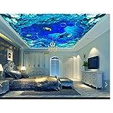 Pbldb Unterwasserwelt Marine 3D Fototapete Benutzerdefinierte 3D Decke Tapete Marine Wasser Linien Marine Delfine Decke Zenith Wandbilder Wand Wohnzimmer Dekor-200X140Cm