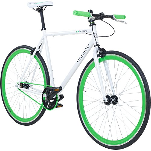 700C 28 Zoll Fixie Singlespeed Bike Galano Blade 5 Farben zur Auswahl, Rahmengrösse:59 cm, Farbe:weiss/grün