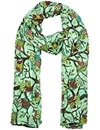 World of Shawls Ladies Women's Owl on Branch Print Scarf Wraps Shawl Maxi Soft Scarves