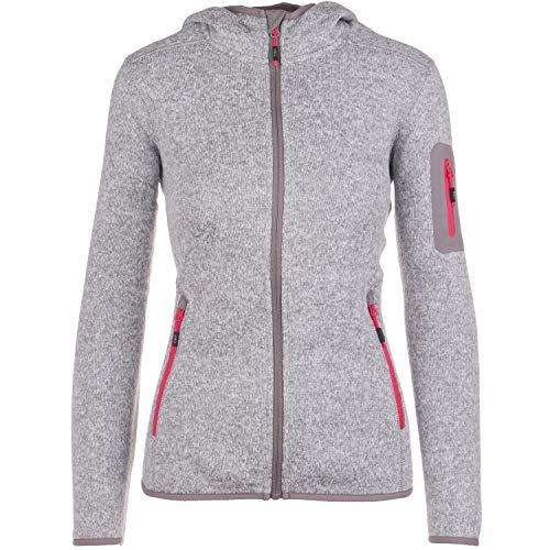 Strickfleecejacke Damen CMP Outdoor Fleecejacke dünn Sweatjacke mit Kapuze Strickjacke große Größen Kiara II, Größe:38, Farbe:Sand-Pink