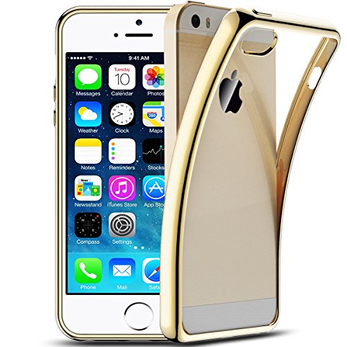 SMART LEGEND Cover per Apple iPhone 5/5s/SE Morbido Silicone Case Scratch Resistant Plating Case Soft Silicone Custodia TPU Bumper Clear Trasparente Protective Back Cover Crystal Clear Case Ultra-Slim Smooth Cell Phone Case Silicone Protective Cover Flexible Thin Back Shell - Oro