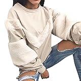 Kolylong® Sweatshirt Damen Frauen Elegant Plüsch Langarm Bluse Herbst Winter Warm Sweatshirt Locker Rundhals Pullover Pulli T-Shirt Tops Oberteile Mantel (M, Khaki)