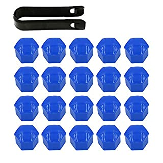 ARTGEAR 20 Pieces Wheel Nut Cap 17mm, Wheel Bolt Nut Caps Covers for VW, Hexagonal Tire Nut Covers with Removal Tool Set for Cars, Blue