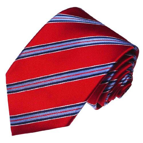 LORENZO CANA - Luxus Marken Krawatte aus 100% Seide - Rot Blau Weiss Streifen - 84234