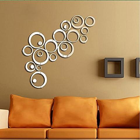 Moderno adesivo 3D da parete effetto specchio con panno in microfibra, motivo cerchi (argento o nero) argento