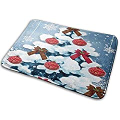 Idea Regalo - gwewe zerbino Marry Christmas Bath Mat Doormat Non Slip Absorbent Bath rug Carpet for Indoor/Outdoor/Kitchen/Bathroom 15.7
