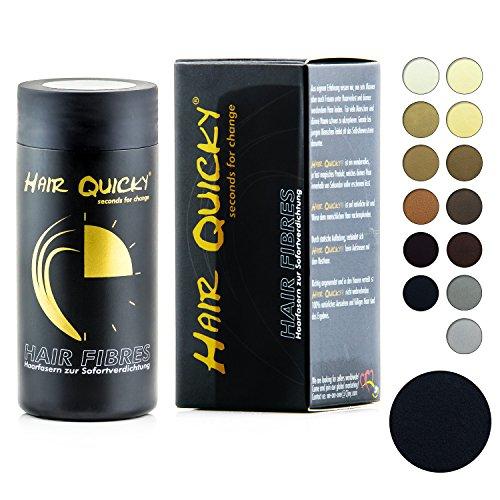 Hair quicky® premium hair fibers polvere per capelli densitee fibre densificante immediato contro la caduta dei capelli e la calvizie per uomo e donna cheratina naturale | 28g | nero