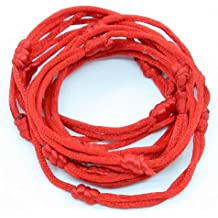 10 pulseras color rojo con cordón, hechas a mano, para temer suerte y éxito