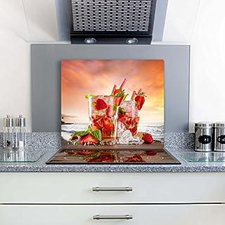 FTB Gsmarkt Herdabdeckplatte Schneidebrett 60x52 Glasbild Erdbeere