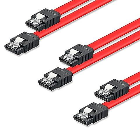 SET - 3x deleyCON [0,5m] S-ATA 3 Kabel - PREMIUM SATA 3 HDD / SSD Datenkabel mit Clip - 2x Stecker gerade - bis 6 Gbit/s - Länge: 50cm / Farbe: Rot